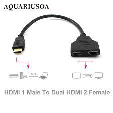 Dây cáp chia cổng HDMI từ 1 đầu đực sang 2 đầu cái , dùng cho TV HD LED LCD  giảm chỉ còn 77,295 đ