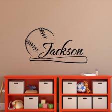 Home Decor Wall Decal For Kids Rooms Baseball Vinyl Sport Sticker Custom Personalized Name Boys Bedroom Poster Na01 Decorative Wall Decal Name Wall Decalswall Decals Aliexpress