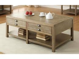light oak coffee table with two drawers