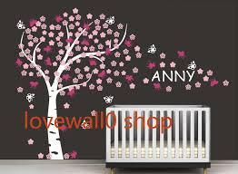 Vinyl Cherry Blossom Tree Wall Decal Nursery Kids Custom Name Decals Tree Butterfly Wall Sticker Hom On Luulla