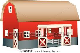 red wooden toy barn clipart k33761693
