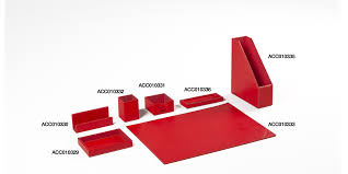 red leather desk accessories set