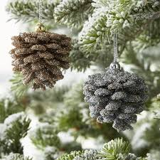 gold and silver beaded glitter pinecone