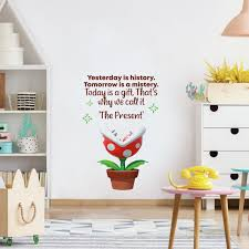 Today Is A Gift Mario Game Life Quote Cartoon Quotes Wall Sticker Art Design Decal For Girls Boys Kids Room Bedroom Nursery Kindergarten Home Decor Stickers Wall Art Vinyl Decoration 30x15 Inch