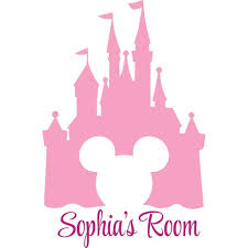 Mickey Mouse Walt Disney Castle Customized Wall Decal Custom Vinyl Wall Art Personalized Name Baby Girls