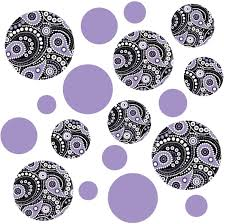 Amazon Com Large Paisley Dots Wall Decals Purple Black And White Reusable Matte Fabric Wall Stickers Home Kitchen