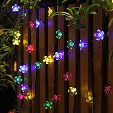 Amazon Com 50 Leds Holiday Decorations Solar String Lights Flower Garden Lights Panpany Outdoor Lighting For Indoor Patio Fence Patio Party Garden Outdoor