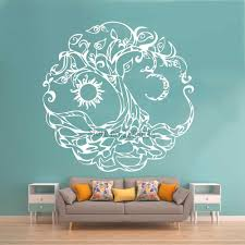 Abstract Tree Of Life Vinyl Wall Decal Tribe Symbol Moon Sun Day Night Stickers Wall Mural Art Bedroom Living Room Decor Lc1023 Wall Stickers Aliexpress