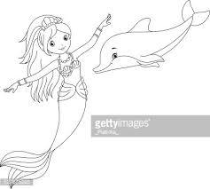 Zeemeermin En Dolfijn Kleurplaten Pagina Clipart Afbeelding