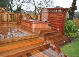 Ipe Deck With Japenese Mahogany Privacy Screen Creative Fences Decks Hot Tub Privacy Patio Fence Backyard Privacy