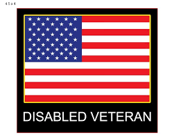 Disabled Veteran Window Decal Patriotic Attach To Your Car Window