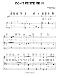 Cole Porter Don T Fence Me In Sheet Music Pdf Notes Chords Standards Score Piano Vocal Guitar Right Hand Melody Download Printable Sku 39147