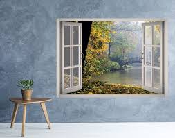 Rainy Nature Lake Window 3d Wall Decal Art 3d Wall Decals 3d Wall Decal Wall Art