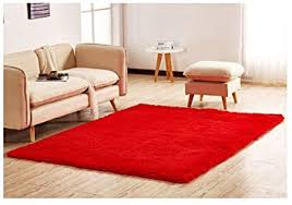 Amazon Com Polyester Fiber Area Rugs Silky Smooth Bedroom Mats Fluffy Shaggy Rugs For Living Room Bedroom Kids Room Nursery Home Decor Carpet 4 Feet By 5 3 Feet Red Baby