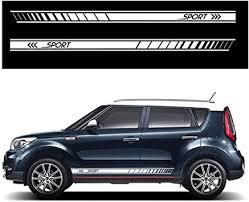 Amazon Com Autotoper Car Side Door Skirt Strip Sticker Decals For Kia Soul White Vinyl Car Decal Accessories Styling 1 Pair L R Automotive