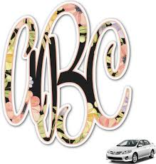 Amazon Com Youcustomizeit Boho Floral Monogram Car Decal Personalized Automotive