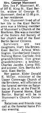 Iva Jacobs Mummert obituary - Newspapers.com
