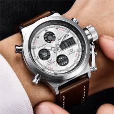 cool leather straps mens watch with led