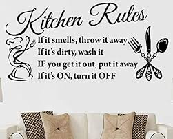 Amazon Com Kitchen Rules Chef Vinyl Quote Wall Art Decal Stickers Decor Letters Lettering Design Saying Decoration Happy Place Family Bedroom Living Room Arts Crafts Sewing