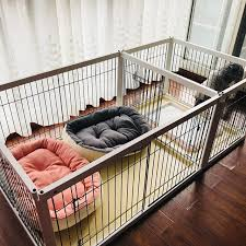 Dog Fence Wooden Pet Fence With Toilet Small And Medium Sized Dog Isolation Door Doggy Kennel Cage Indoor Dog Supplies