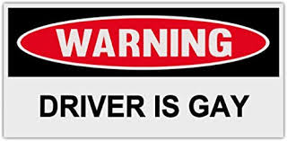 Amazon Com Warning Bumper Stickers Decals Driver Is Gay Gay Lesbian Bi Transsexual Transgender Lgbt Ally Friendly Everything Else