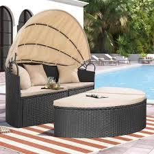 homall outdoor patio round daybed with