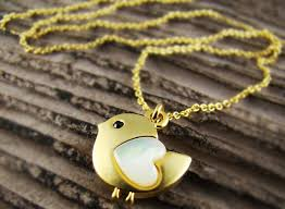 bird pendant necklace mother of pearl