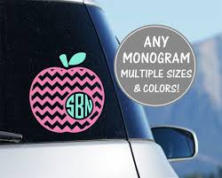 Apple Monogram Car Decal Teacher Monogram Decal Apple Etsy