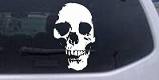 Amazon Com Rad Dezigns Skull Shadow Decal Skulls Car Window Wall Laptop Decal Sticker White 4in X 6 5in Automotive