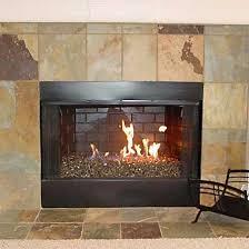 fireplace glass instead of logs fire