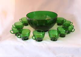 green emerald punch bowl set with 10