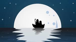 تصميم رسم قمر في البحر جميلة ملف مفتوح