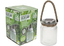 large rope handle glass jar solar lamp