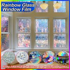 New Removable Window Privacy Film Static Glass Clings Vinyl 3d Window Glass Film Sticker Stained Anti Uv Self Adhesive Rainbow Sticker Home Decor 45 100cm 45 200cm 3 Patterns Wish
