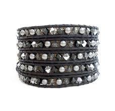 black crystal and pearl wrap bracelet