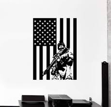 Wall Vinyl Us Soldier Marine Usa Flag Guaranteed Quality Decal Unique Wallstickers4you