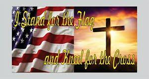 I Stand For The Flag Kneel For The Cross Bumper Sticker Decal America Support Ebay