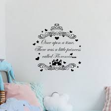 Custom Girls Name Quotes Once Upon A Time Personalized Wall Decal Princess Castle Kids Wall Sticker Children Room Decor Stickers Leaves Stickersticker Pictures Aliexpress