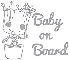Amazon Com Baby Groot Baby On Board Vinyl Sticker Decals For Car Bumper Window Laptop Tablet Phone 4 X 4 6 Silver Home Improvement