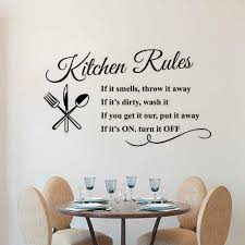 Kitchen Rules Wall Decal Removable Kitchen Quote Wall Sticker Restaurant Home Decor Design Kitchen Rule Wall Art Poster Ay1419 Wall Stickers Aliexpress