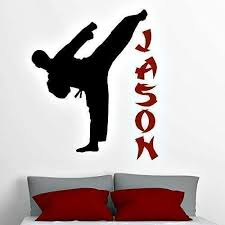 Amazon Com Personalized Karate Boy Wall Decal Martial Art Decor Karate Silhouette Stickers 30 Colors Several Sizes Handmade