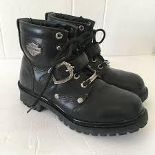 size 9 black leather biker boots lace