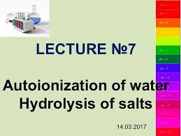 7 autoionization of water hydrolysis of
