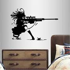 Amazon Com In Style Decals Wall Vinyl Decal Home Decor Art Sticker Anime Manga Girl Sniper Rifle Shooting Kids Bedroom Room Removable Stylish Mural Unique Design 2359 Home Kitchen