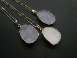 oval druzy necklace white druzy pendant