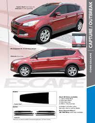 Capture 2013 2018 Ford Escape Center Hood Vinyl Graphics Decal Stripe Kit Pro Design Series