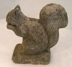 cast stone squirrel garden ornament