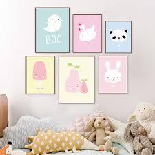 Modern Animals Panda Posters Kawaii Nordic Baby Kids Room Decor Wall Art Canvas Nursery Framed Wall Art Kawaii Room Nursery Wall Art