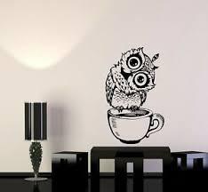 Wall Decal Owl Coffee Morning Cup Bird Kitchen Decoration Vinyl Sticker Ed931 Ebay