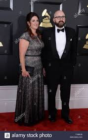 Mix engineer Adam Hawkins (R) and guest arrive for the 59th annual Grammy  Awards held at Staples Center in Los Angeles on February 12, 2017. Photo by  Jim Ruymen/UPI Stock Photo - Alamy